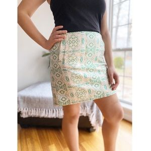 J Crew Factory Metallic Jacquard Print Mini Skirt